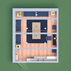 planos casa salón cocina comedor 3d