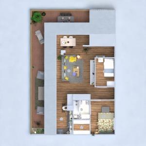 planos apartamento terraza dormitorio salón cocina 3d