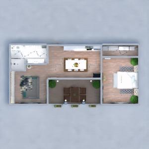 floorplans appartement salle de bains chambre à coucher salon cuisine 3d