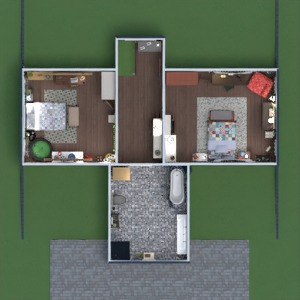 planos casa decoración cuarto de baño dormitorio salón 3d