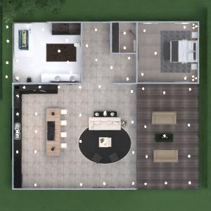 floorplans maison salle de bains chambre à coucher salon eclairage entrée 3d