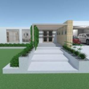 floorplans namas terasa baldai virtuvė eksterjeras 3d