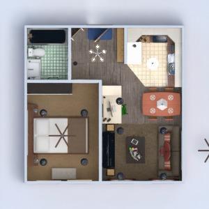 floorplans appartement meubles décoration salle de bains chambre à coucher salon cuisine eclairage rénovation maison entrée 3d