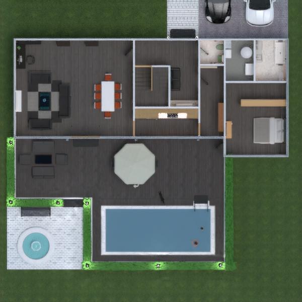 floorplans butas namas terasa baldai dekoras vonia miegamasis svetainė virtuvė eksterjeras vaikų kambarys valgomasis аrchitektūra prieškambaris 3d
