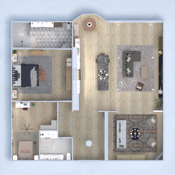 floorplans appartement meubles décoration 3d