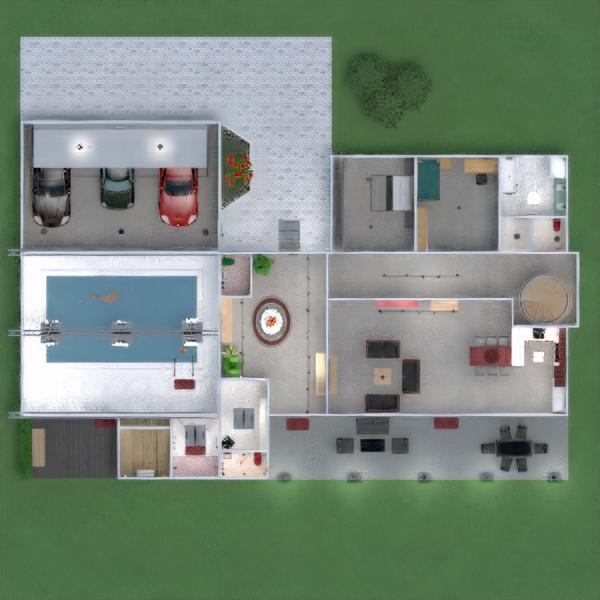 floorplans butas namas terasa baldai dekoras vonia miegamasis svetainė garažas virtuvė eksterjeras vaikų kambarys apšvietimas valgomasis аrchitektūra prieškambaris 3d