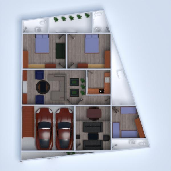 floorplans butas namas terasa baldai vonia miegamasis svetainė garažas virtuvė valgomasis prieškambaris 3d