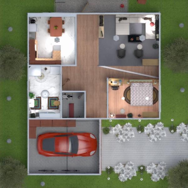 floorplans butas vonia garažas virtuvė eksterjeras 3d