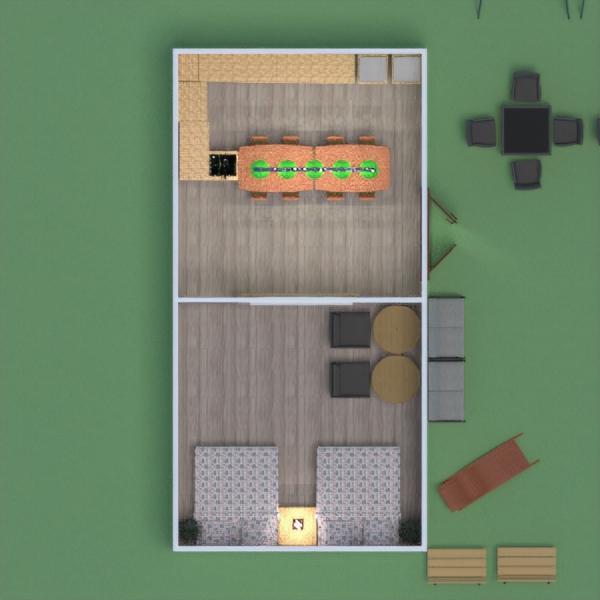 floorplans furniture bedroom kitchen outdoor dining room 3d