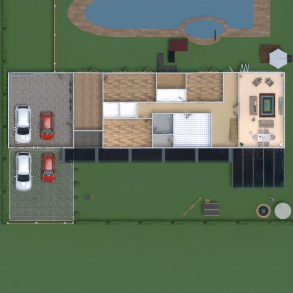 floorplans namas terasa garažas eksterjeras kraštovaizdis 3d