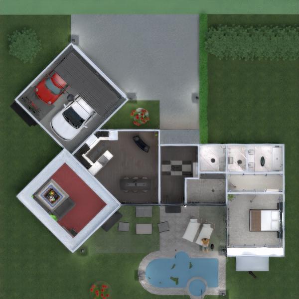 floorplans butas namas terasa baldai vonia miegamasis svetainė garažas virtuvė eksterjeras apšvietimas valgomasis аrchitektūra prieškambaris 3d