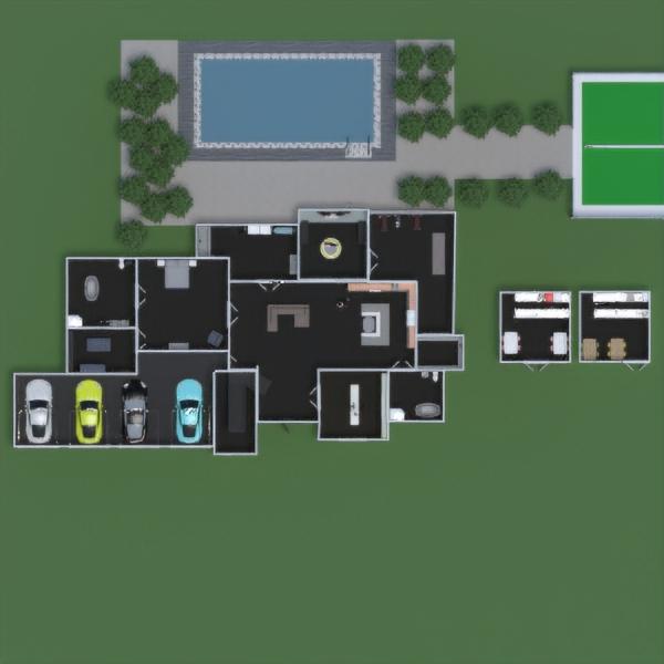 floorplans vonia garažas eksterjeras kraštovaizdis prieškambaris 3d