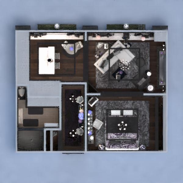 floorplans butas baldai dekoras miegamasis svetainė valgomasis аrchitektūra sandėliukas prieškambaris 3d