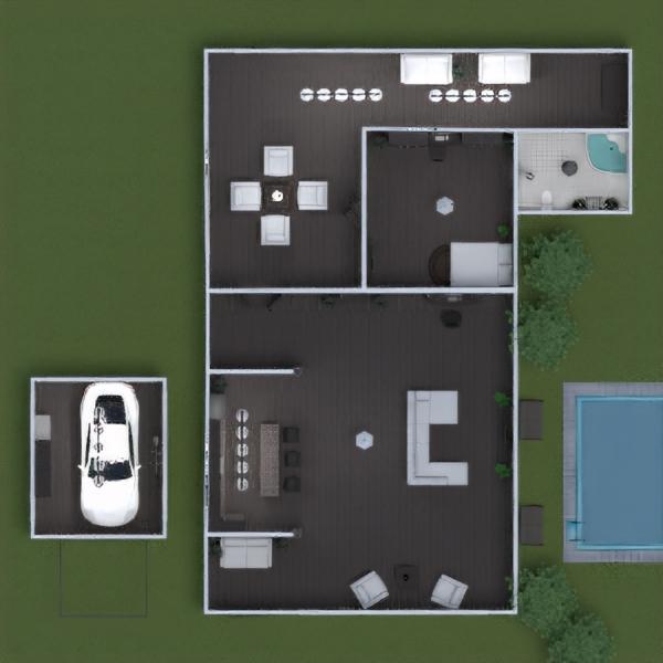 floorplans namas vonia miegamasis svetainė garažas virtuvė 3d