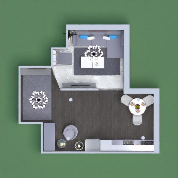 planos salón cocina iluminación comedor descansillo 3d