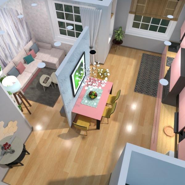 floorplans appartement salon cuisine salle à manger 3d