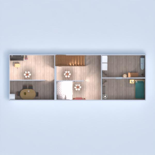 floorplans namas svetainė garažas virtuvė valgomasis 3d