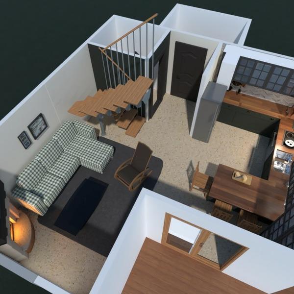 планировки дом терраса мебель гостиная кухня 3d