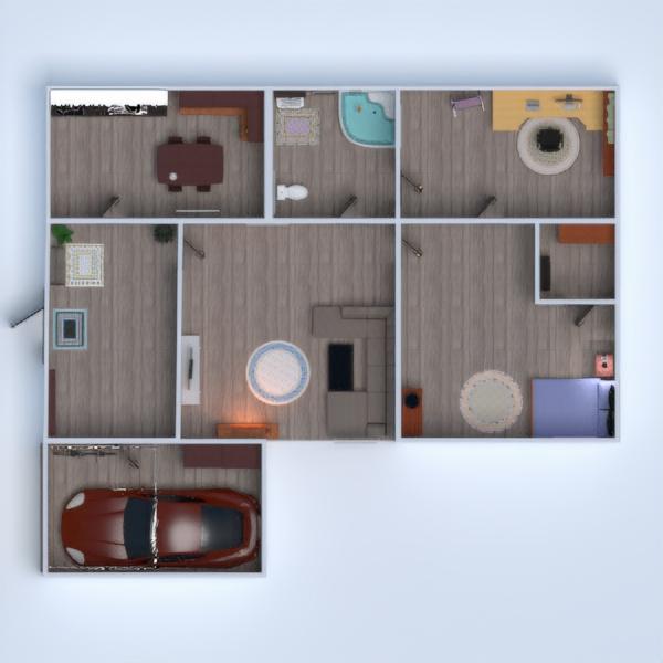 floorplans namas vonia miegamasis svetainė garažas virtuvė valgomasis 3d