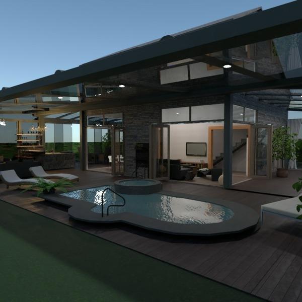 планировки дом терраса мебель гостиная улица 3d