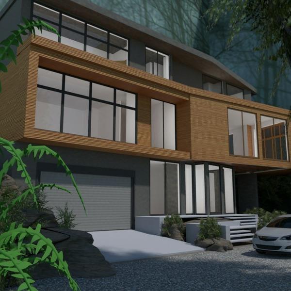 floorplans namas terasa garažas eksterjeras аrchitektūra 3d