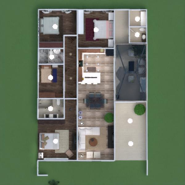 floorplans namas terasa baldai dekoras miegamasis garažas virtuvė apšvietimas аrchitektūra 3d