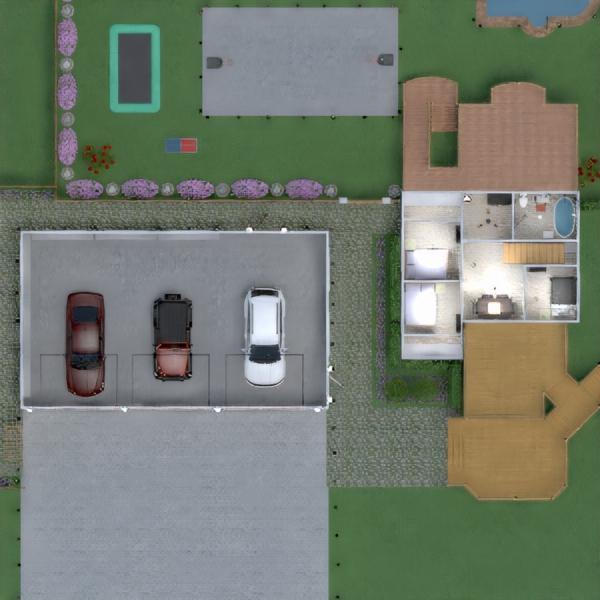 floorplans garažas virtuvė eksterjeras valgomasis 3d