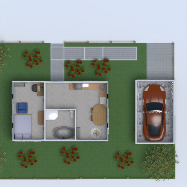 floorplans butas miegamasis garažas virtuvė eksterjeras 3d