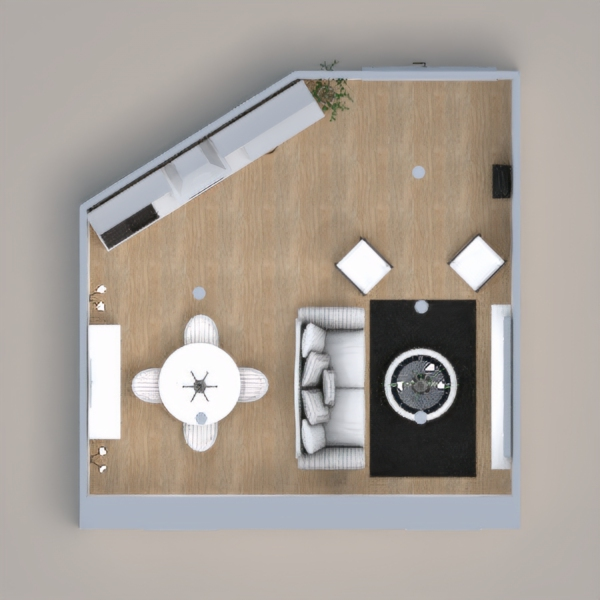 gray white and black living/dining/ kitchen combination