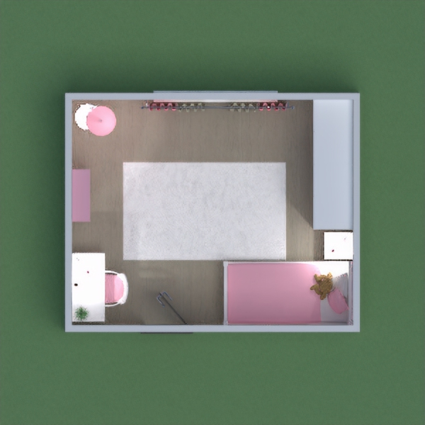 A modern girly bedroom with a combination of baby pink and white. Please vote,comment and share!!!