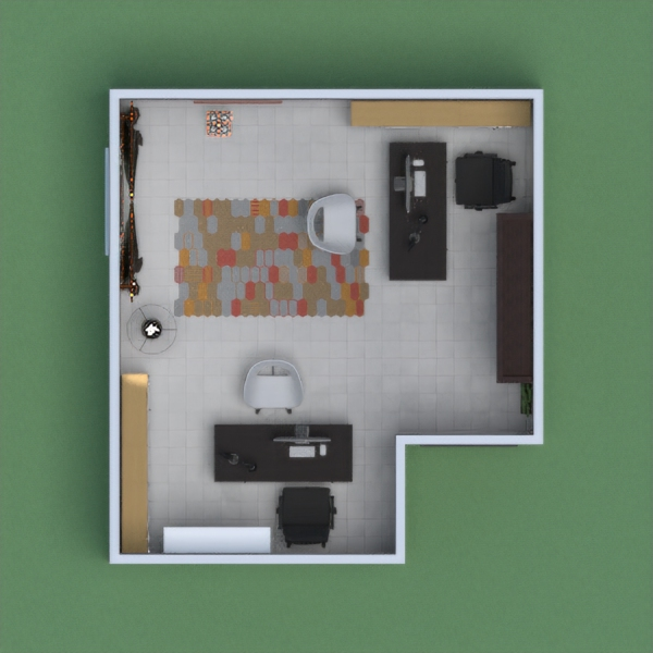 it is an office with 2 people working in it