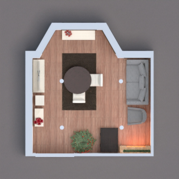 Hello. I am a 10 year old who really wants to become an architect for interior design. this is my project. its a small cozy living room, where the whole family gathers on Christmas eveand celebrate together. I hope you like it