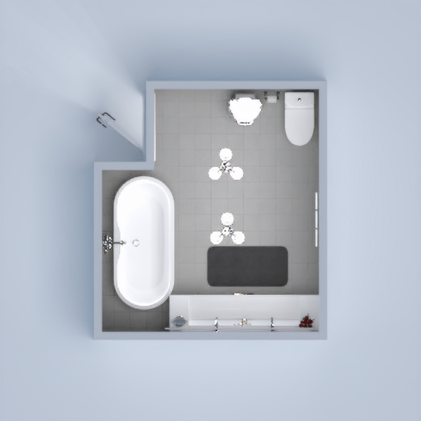 A modern contemporary bathroom for an apartment style or a smaller family, perhaps in a master bathroom. It has a luscious tub and a modern sink with a black and white flare.