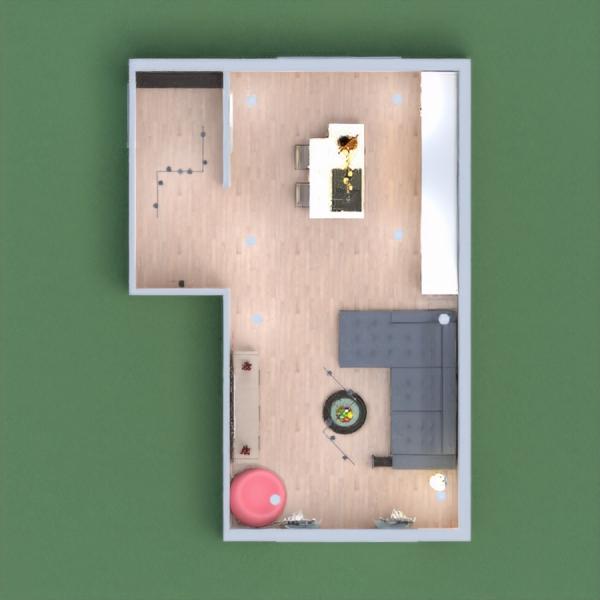 modern kitchen+living room