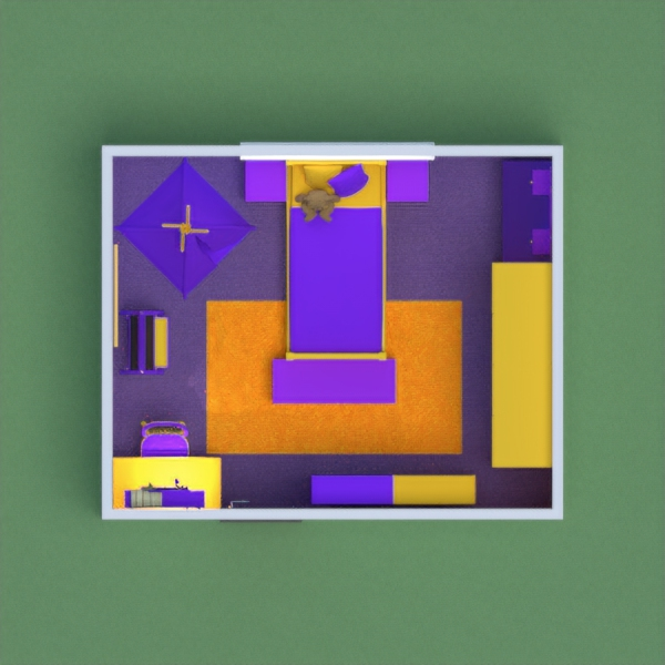 A girl's bedroom with my favorite colors-yellow and purple!