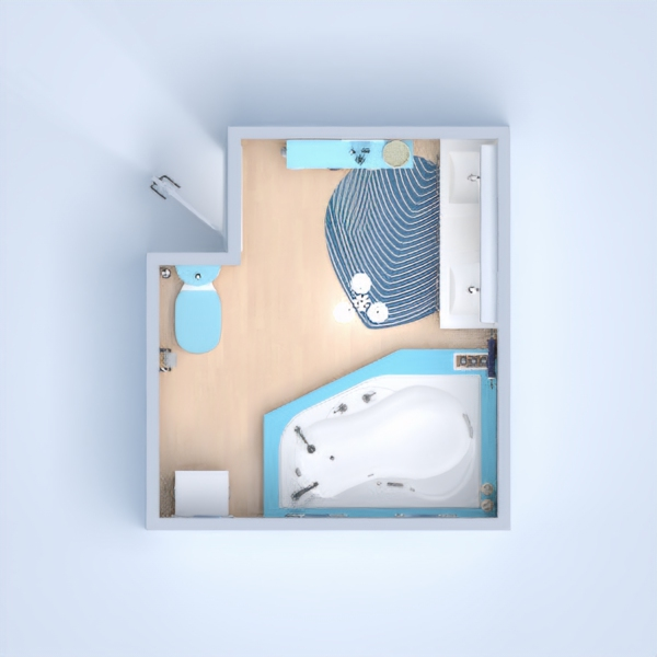 BLUE BATHROOM 7,4 sq.m bathroom with a bathtub and a double washbasin, dominant color blue. I chose light blue (sky blue), but not for walls or floor but for items in bathroom (bathtub, toilet, rug, hanger, towels ...). I tried to balance it with wood, white and silver. Thank you for voting for my design. :)