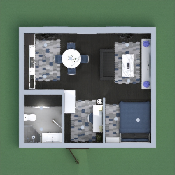 This is a cute modern apartment with blue and grey accents