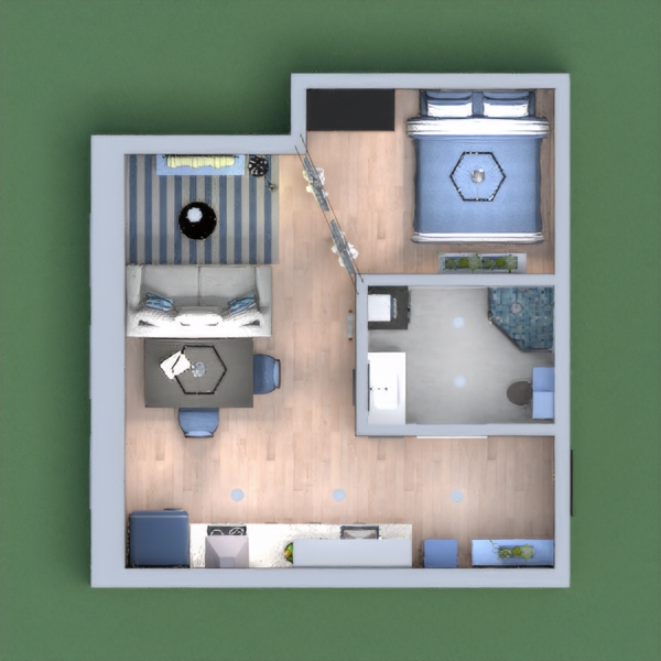 Urban Old Town apartment in shades of blue.