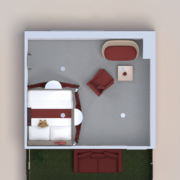 Hello! I made a nice room. I tried to make it red, because red is my main color. The front area has a paded bench, and a plant. The inside I tried to make really homey, and nice. Please don't say