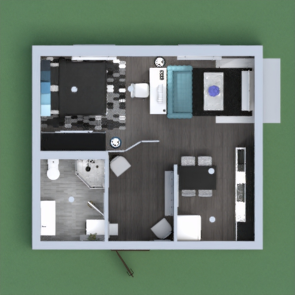 Small cozy apartment with tints of black, grey, white and blue, perfect for a single or couple living.
