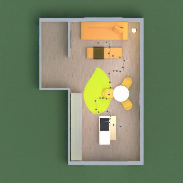кухня и гостиная в желтых тонах.