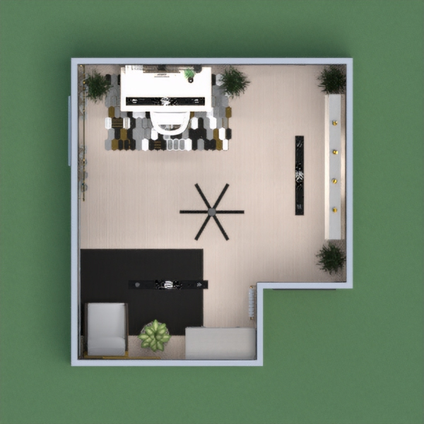 A modern black and white office, with a cozy relaxing area, a wall of storage, paintings, plants for fresh air, and a mirror to fill the room with more light.