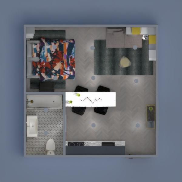 Small studio interior. Lasciati trasportare all'interno di questo spazio, liberando mente e corpo per un rilassamento completo. Ambiente raffinato e giovanile, caratterizzato da forme moderne e contemporanee con tocchi di colore grigio e giallo.
