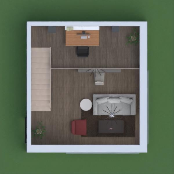 Grande pièce avec cuisine et salon et bureau à l'étage