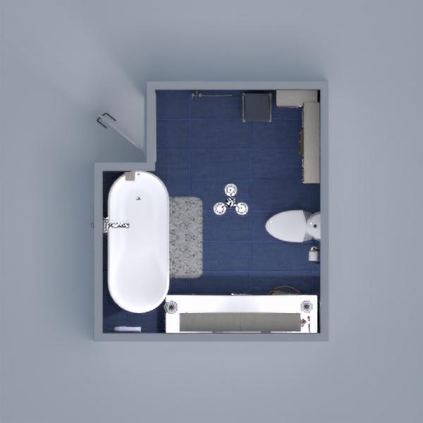 Modern bathroom in blue.