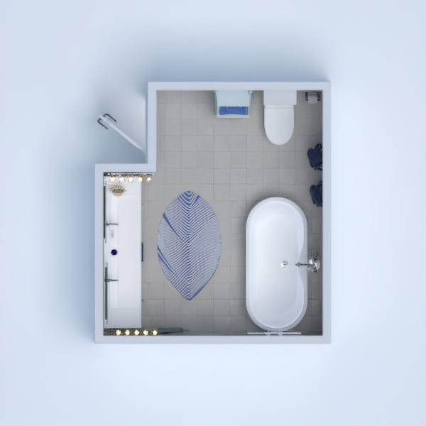 I did a modern bathroom.There's a bath at the right.And I tried to make it comfortable, so I put some lights,a raw,and some decorating elements.
