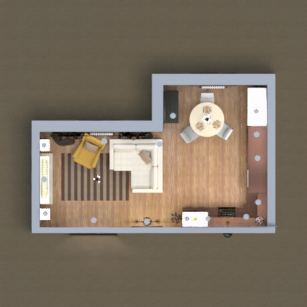 Here is my kitchen with dining area and a living room in brown, white and gray. I hope you like it.