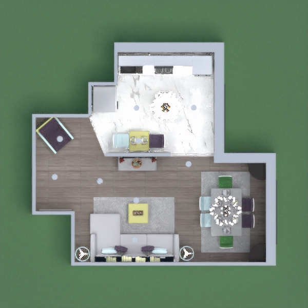 This is a modern and pastel theme kitchen and living room with lots of room and decorations