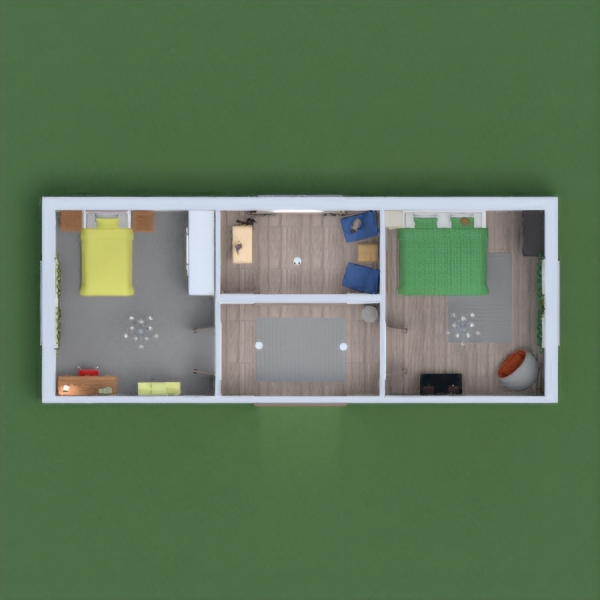 A room for two sister, both with a newer modern feel, best way to express my style with the limited items i had. both use with vibrant but warm tones in the room. Both to appeal more towards mature students with the desks to study yet with space to chill too.