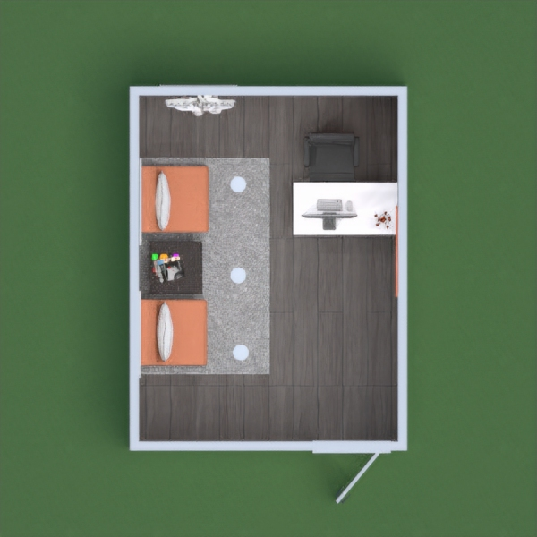 An office using the colors white and orange.